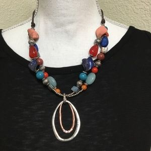 5/$25  Beaded Necklace with Double Oval Pendant